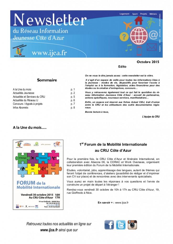 Newsletter Octobre 20151