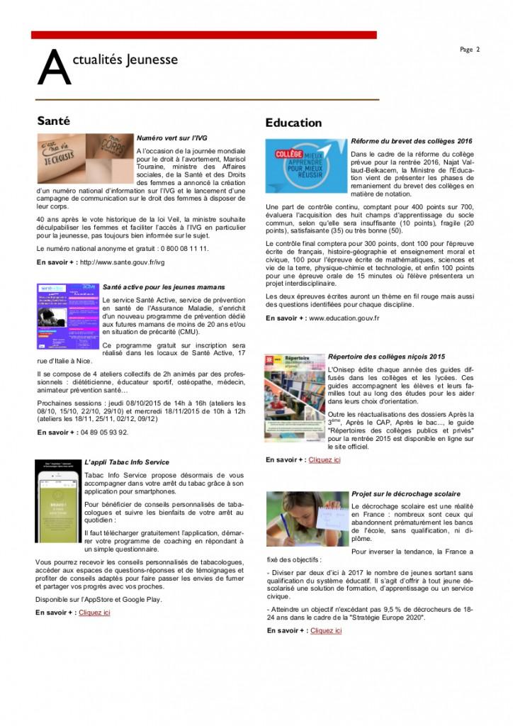 Newsletter Octobre 20152