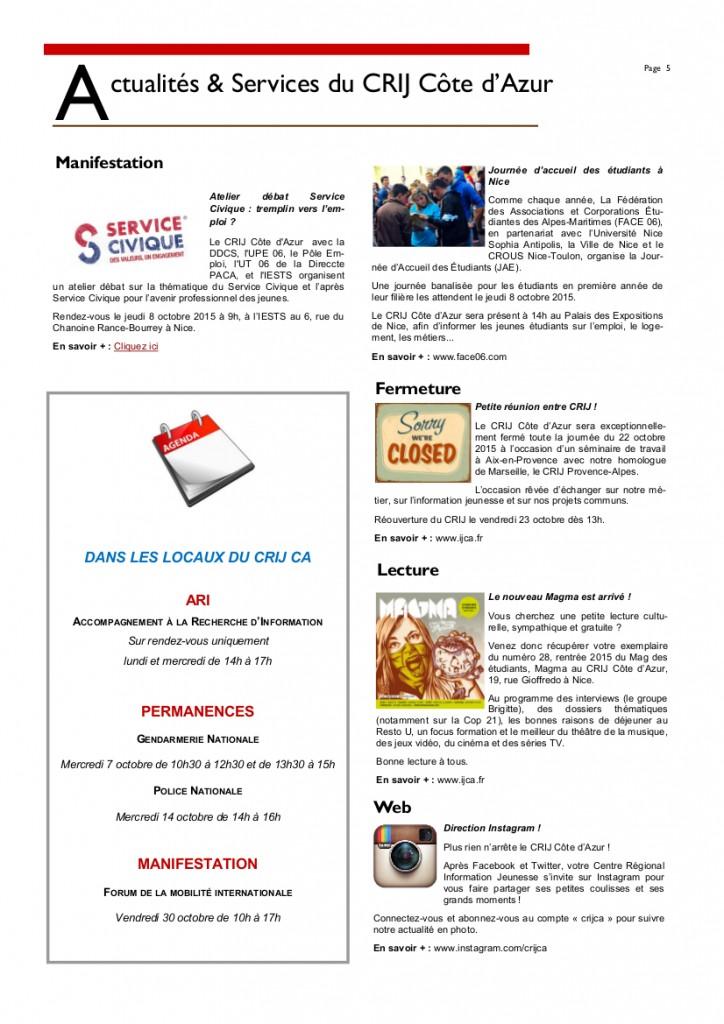 Newsletter Octobre 20155