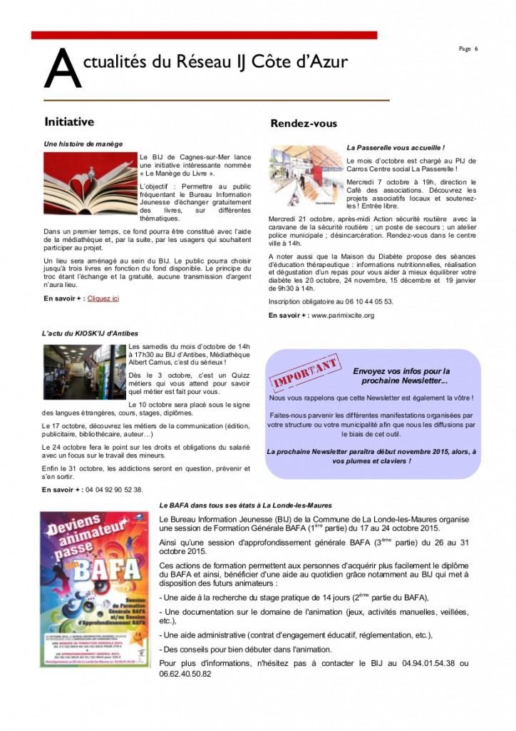 Newsletter Octobre 20156