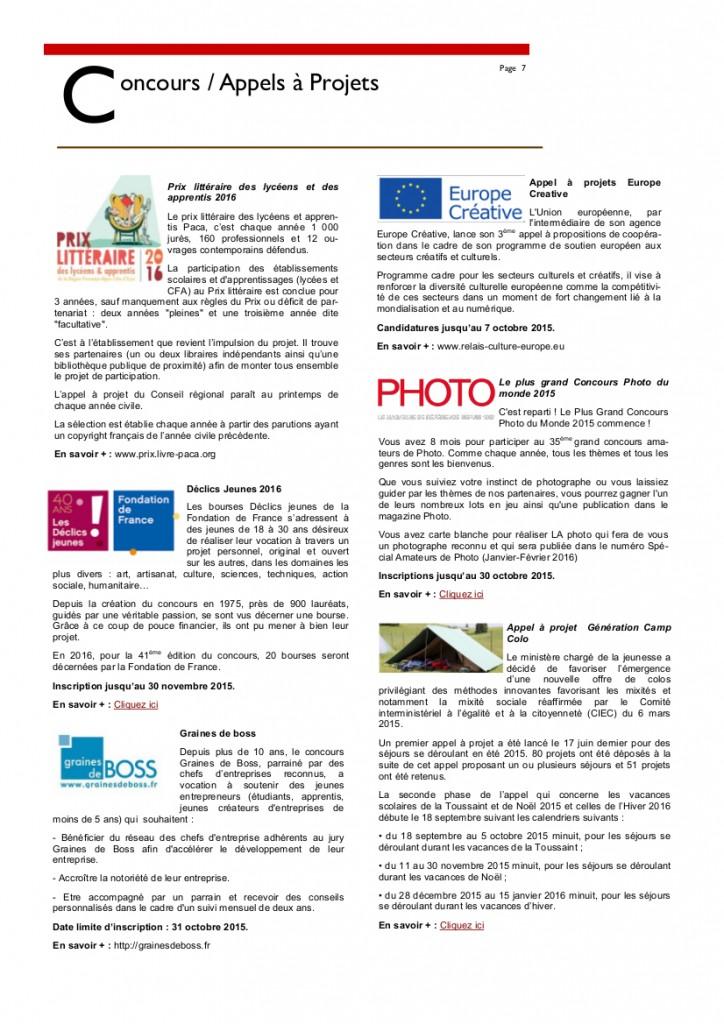Newsletter Octobre 20157