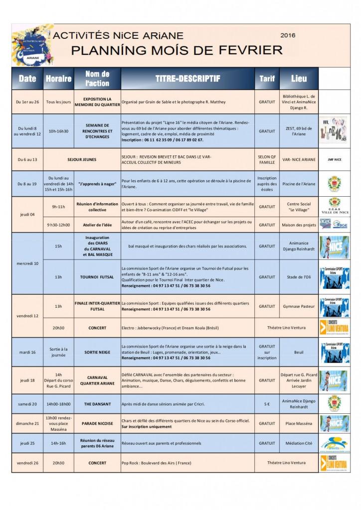 Agenda Ariane février 2016