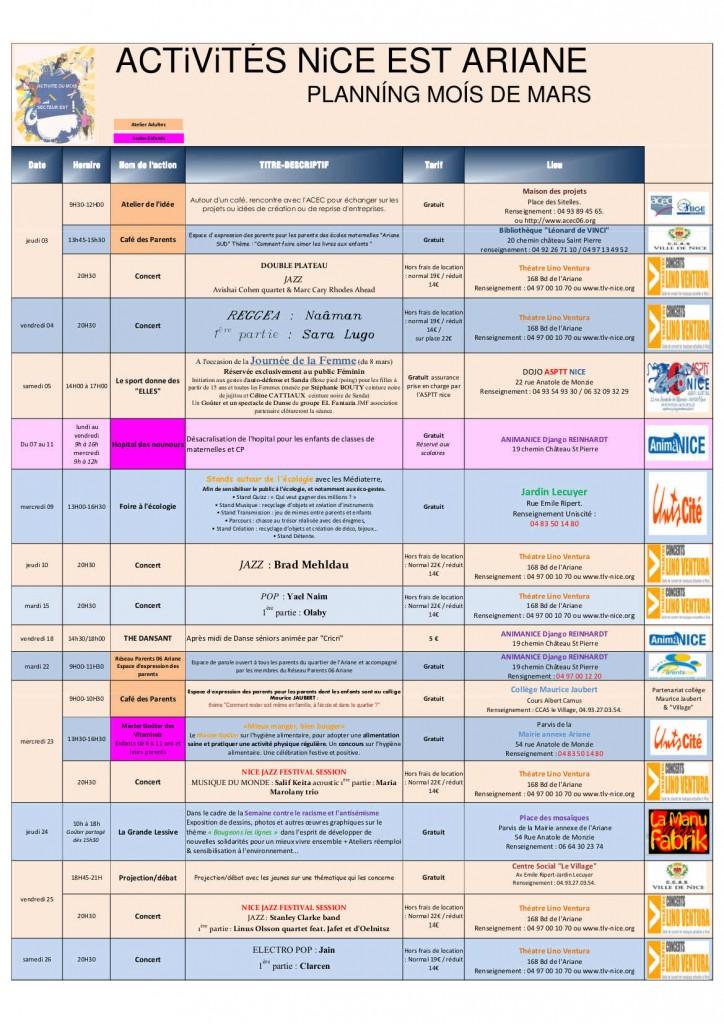 Agenda Mars 2016 Nice ARIANE
